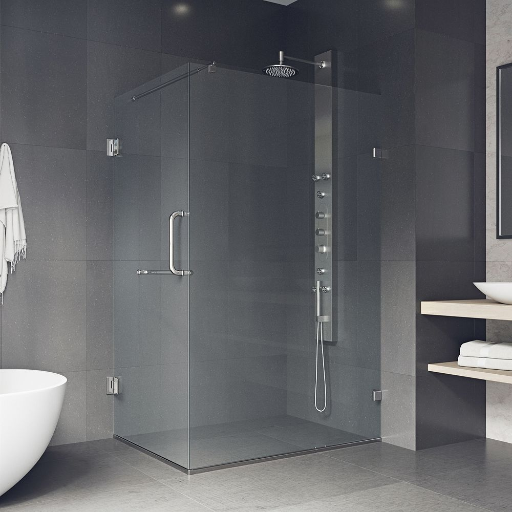 VIGO Pacifica 46 inch x 73.375 inch Frameless Corner Hinged Shower Enclosure in Brushed Nickel with Clear Glass