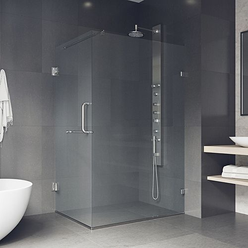 Pacifica 46 inch x 73.375 inch Frameless Corner Hinged Shower Enclosure in Brushed Nickel with Clear Glass