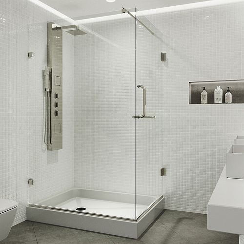 Pacifica 48.125 inch x 79.25 inch Frameless Shower Enclosure in Brushed Nickel with Clear Glass and Left Base