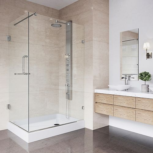 VIGO Pacifica 48.125 inch x 74.25 inch Frameless Hinged Shower Enclosure in Brushed Nickel with Clear Glass and Right Base