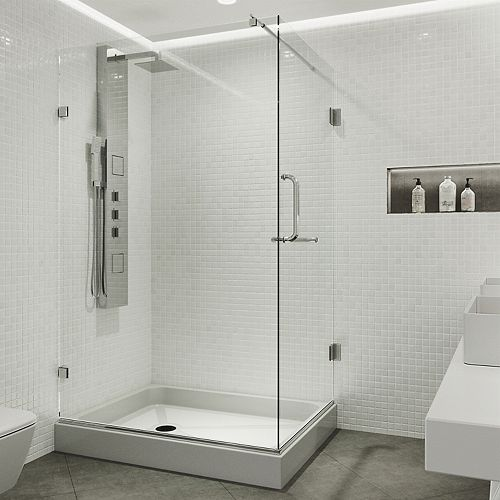 VIGO Pacifica 48.125 inch x 79.25 inch Frameless Shower Enclosure in Chrome with Clear Glass and Left Base