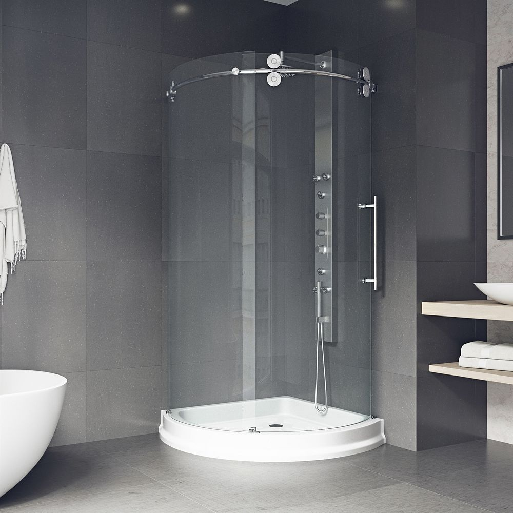 VIGO Sanibel 40.5 inch x 79.5 inch Frameless Bypass Round Shower Enclosure in Chrome with Right Side Door and Base