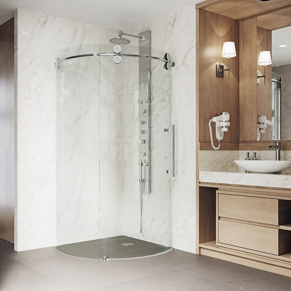 VIGO Sanibel 40.625 inch x 74.625 inch Frameless Corner Bypass Shower Enclosure in Chrome with Right-Sided Opening