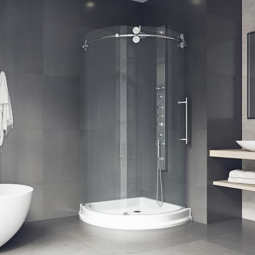 Sanibel 43.625 inch x 79.5 inch Frameless Bypass Shower Enclosure in Chrome with Right Side Opening and Base