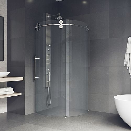 Sanibel 38 inch x 74.625 inch Frameless Corner Bypass Round Shower Enclosure in Stainless Steel with Left-Sided Opening