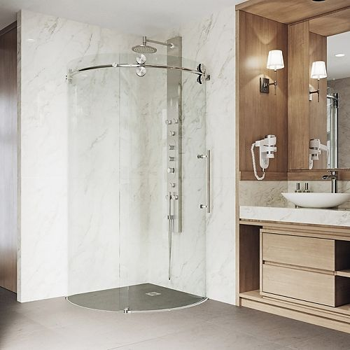 Sanibel 38 inch x 74.625 inch Frameless Corner Bypass Round Shower Enclosure in Stainless Steel with Right-Sided Opening