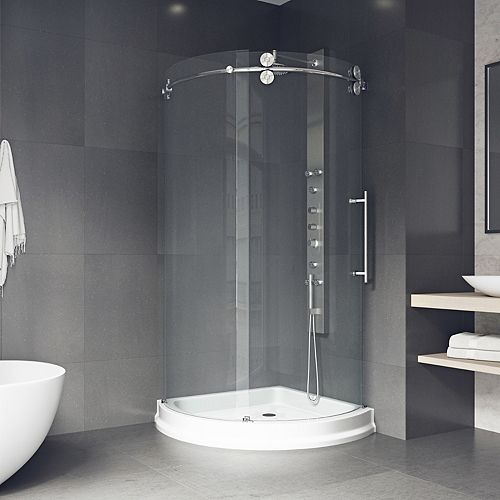 Sanibel 43.625 inch x 79.5 in Frameless Bypass Shower Enclosure in Stainless Steel with Base