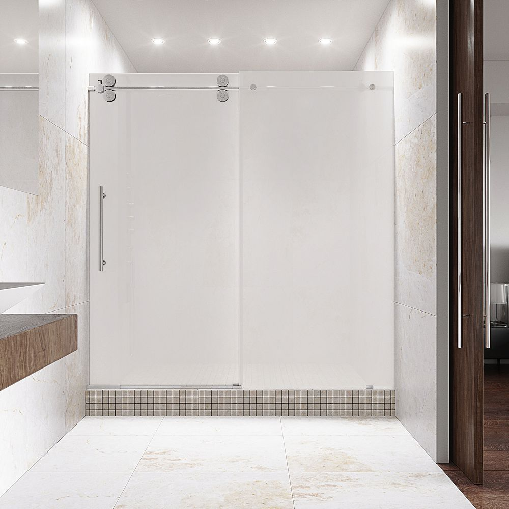 VIGO Elan 56 to 60 inch x 74 inch Frameless Sliding Shower Door in Chrome with Frosted Glass and Handle