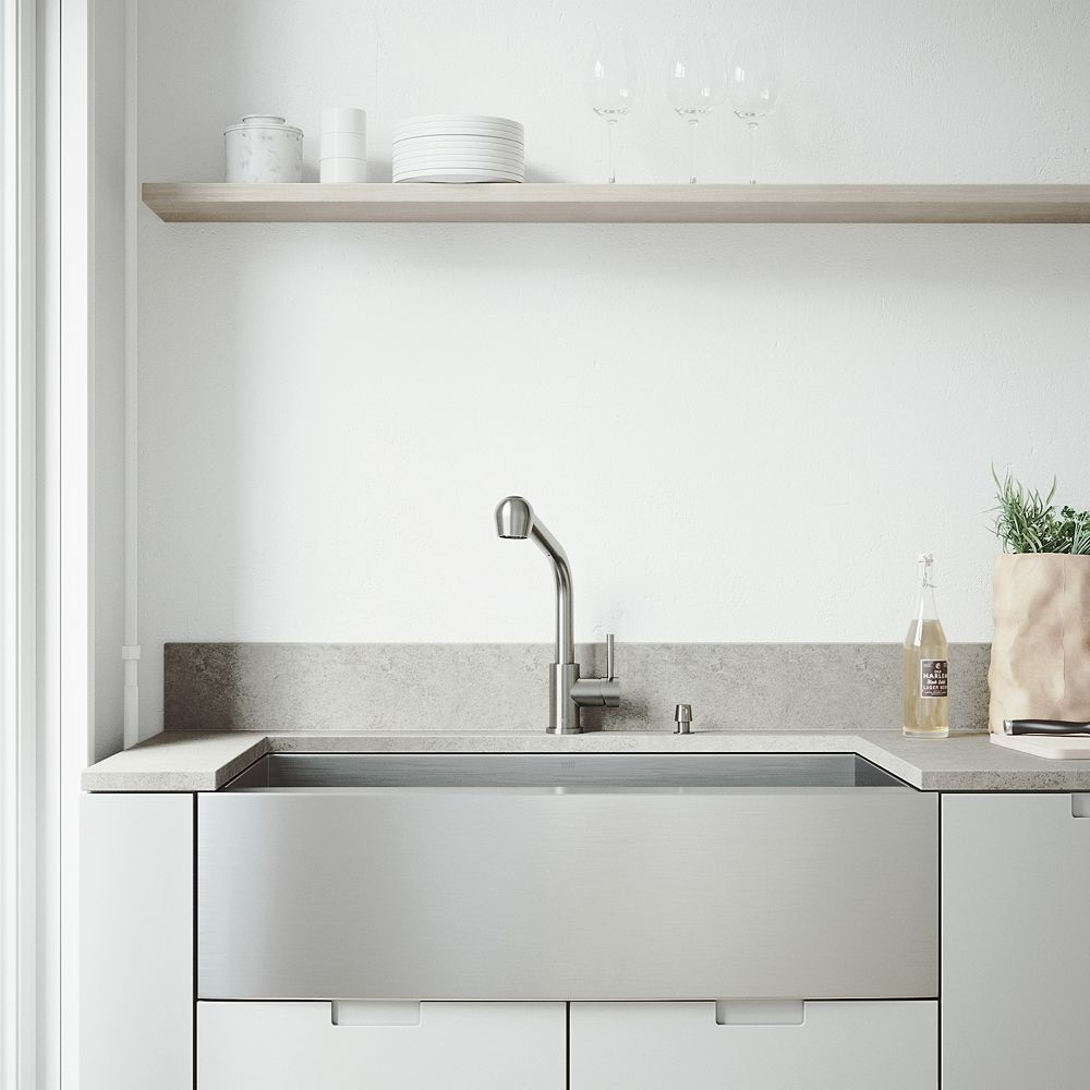 VIGO All-in-One 36 inch Camden Stainless Steel Single Bowl Farmhouse Kitchen Sink with Pull Out Faucet in Stainless Steel