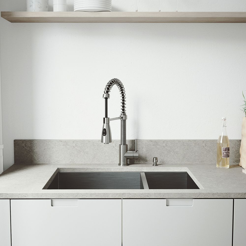 VIGO All-in-One Undermount Stainless Steel 29 inch 0-Hole Double Basin Kitchen Sink with Pull Down Faucet in Stainless Steel