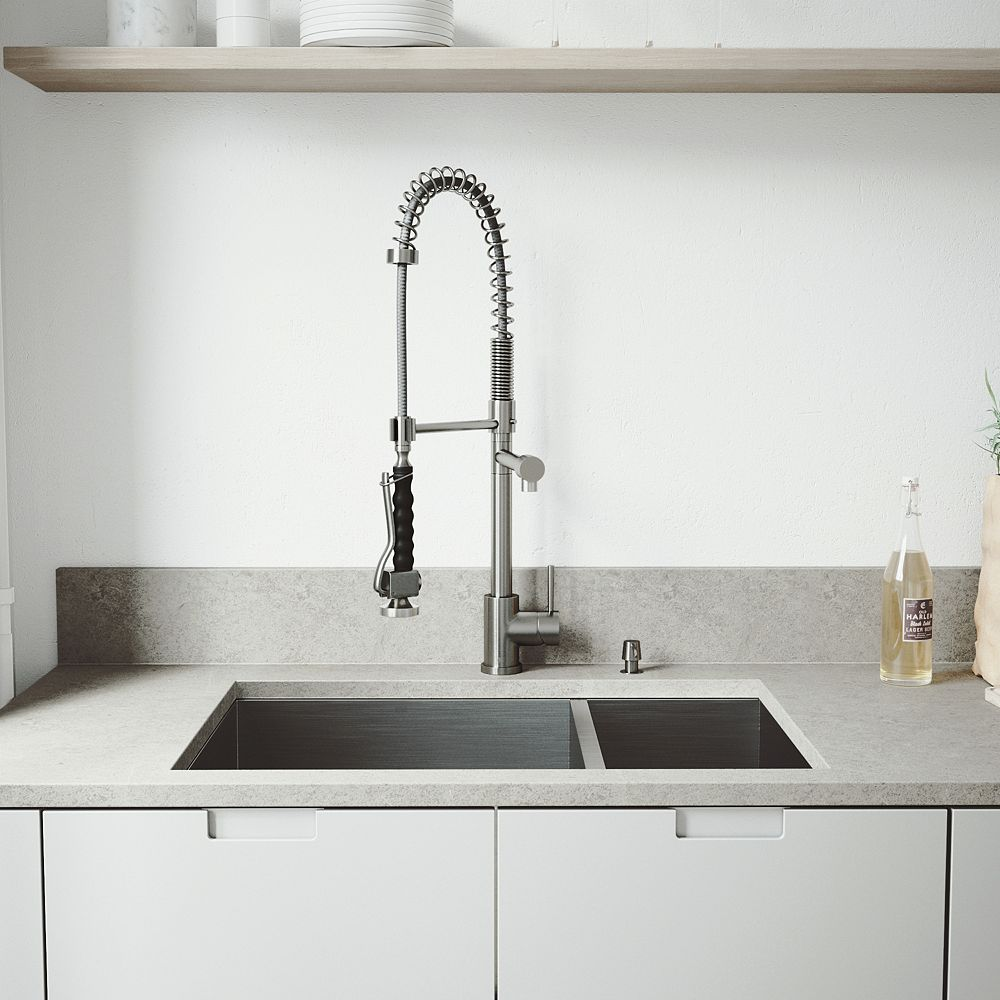 VIGO All-in-One Undermount Stainless Steel 29 inch 0-Hole Double Basin Kitchen Sink in Stainless Steel