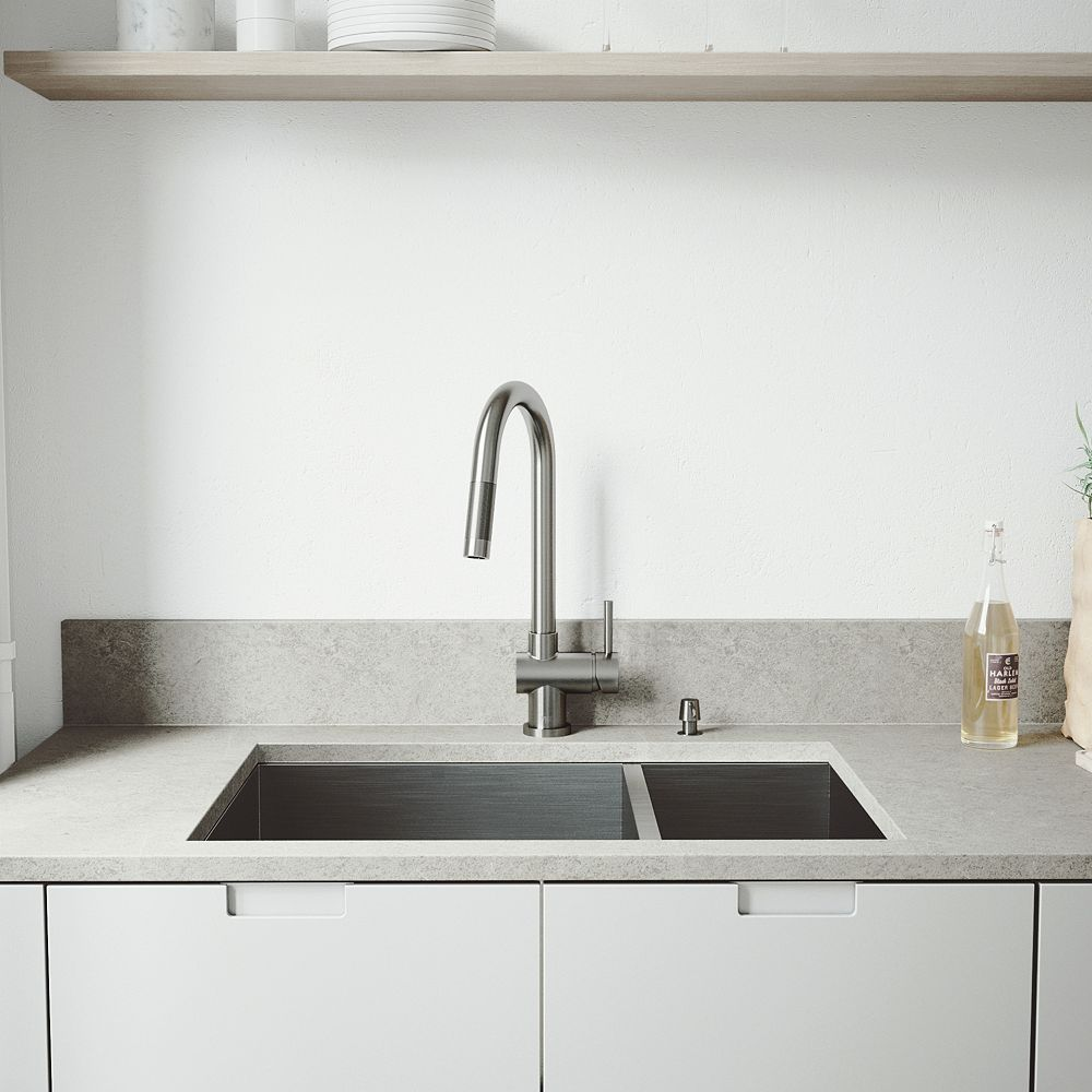 VIGO All-in-One Undermount Stainless Steel 29 inch Double Bowl Kitchen Sink with Pull Down Faucet in Stainless Steel