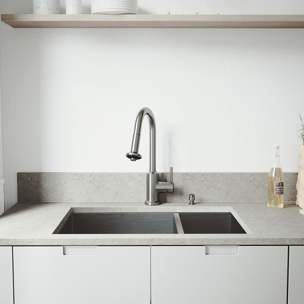 VIGO All-in-One 29 inchEndicott Stainless Steel 60/40 Double Bowl Undermount Kitchen Sink, Pull-down Faucet in Stainless Steel