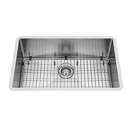 Mercer Undermount Stainless Steel 30 inch 0-Hole Single Bowl Kitchen Sink with 1 Grid, 1 Strainer in Stainless Steel