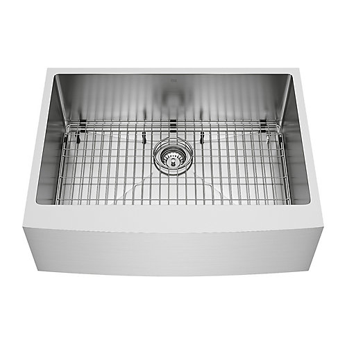 Bedford Farmhouse Stainless Steel 30 inch 0-Hole Single Bowl Kitchen Sink with 1 Grid, 1 Strainer in Stainless Steel