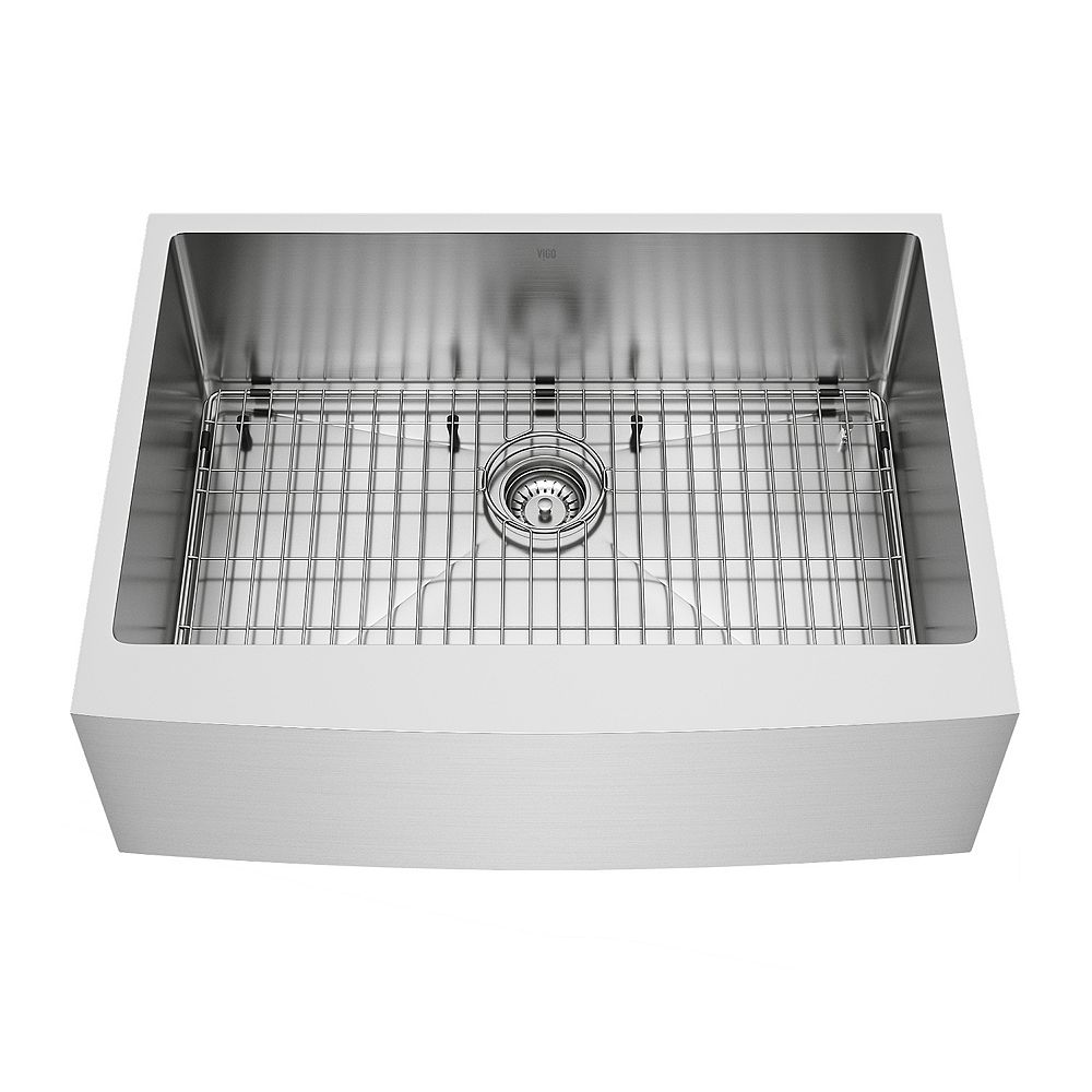 VIGO Bedford Stainless Steel 30 in. Single Bowl Farmhouse Apron-Front Kitchen Sink with Strainer and Stainless Steel Grid