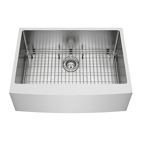 VIGO Bedford 30-inch 0-Hole Single Bowl Farmhouse Kitchen Sink with 1 Grid, 1 Strainer in Stainless Steel