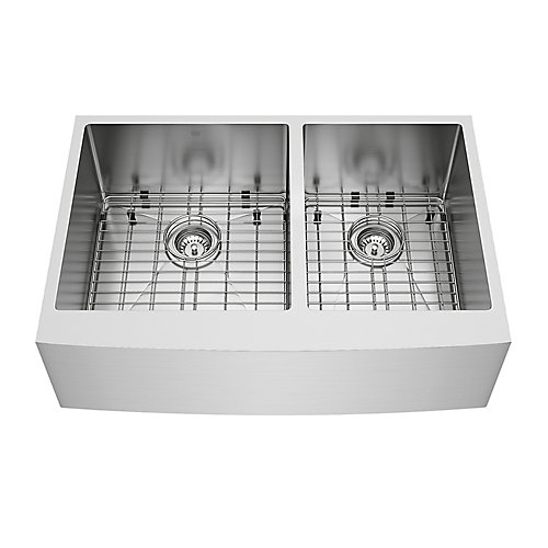Bingham Farmhouse Stainless Steel 33 inch 60/40 Double Bowl Kitchen Sink with Grids, Strainers in Stainless Steel