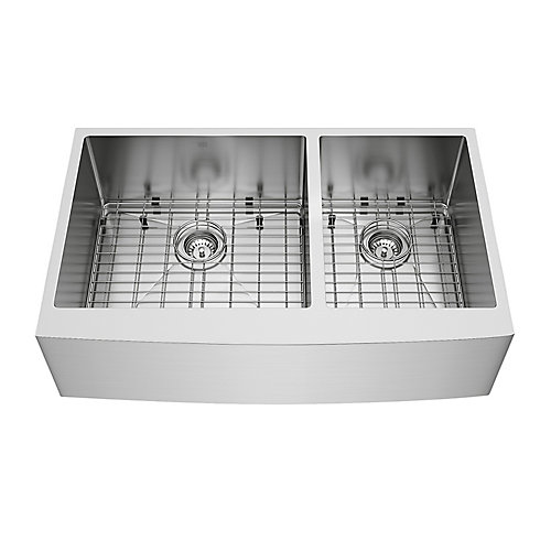 Bingham Farmhouse Stainless Steel 36 inch 60/40 Double Bowl Kitchen Bar Sink with Grids, Strainers in Stainless Steel