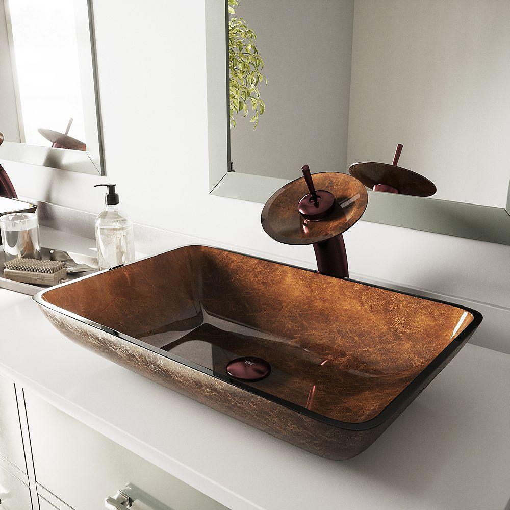 VIGO Lavabo rectangulaire en verre pour salle de bains en brun chocolat avec robinet à cascade et vidange automatique en bronze huilé