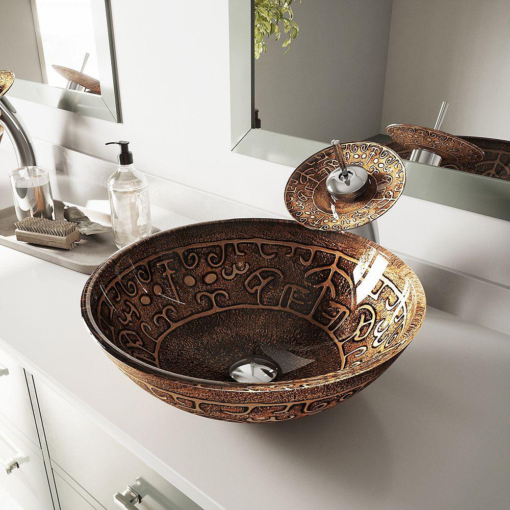 VIGO Golden Greek Vessel Bathroom Sink in Brown with Waterfall Faucet in Chrome