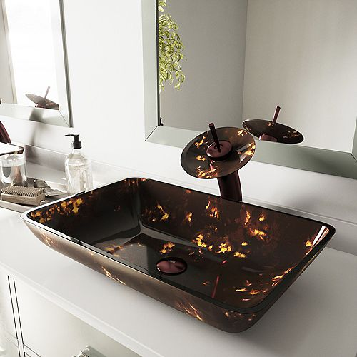Rectangular Glass Vessel Bathroom Sink in Brown and Gold Fusion with Waterfall Faucet Set in Oil Rubbed Bronze