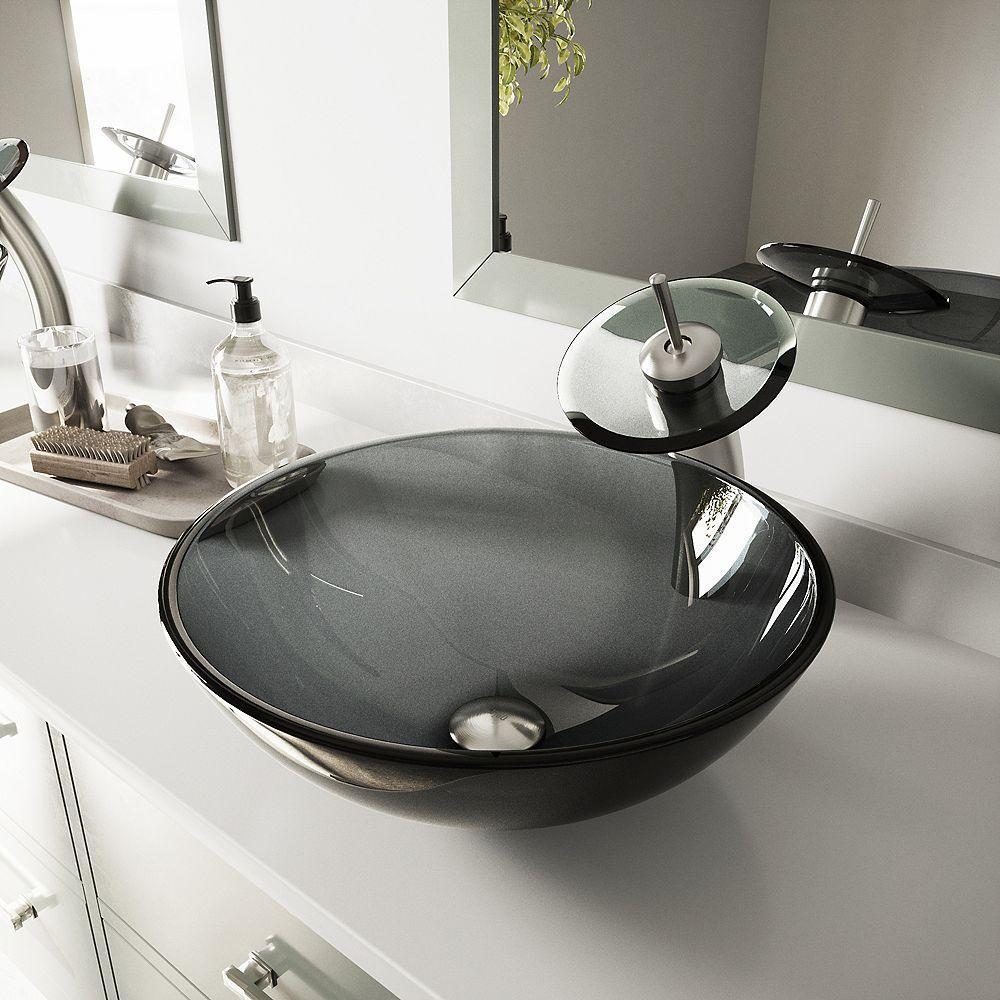VIGO Glass Vessel Bathroom Sink in Sheer Black with Waterfall Faucet Set in Brushed Nickel