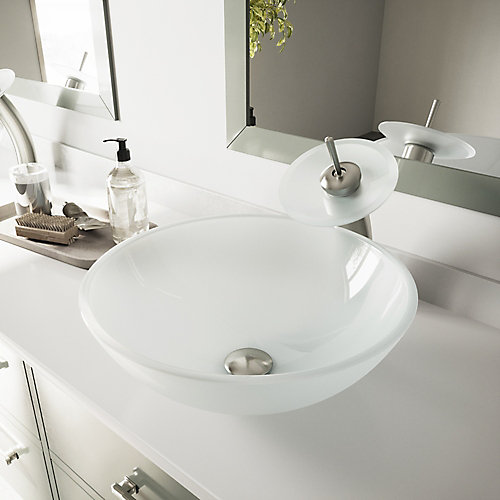 Glass Vessel Bathroom Sink in White Frost with Waterfall Faucet Set in Brushed Nickel