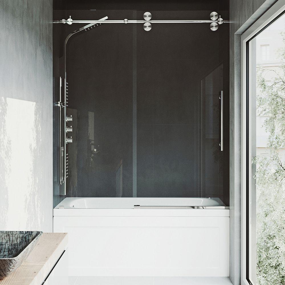 VIGO Elan 60 inch x 66 inch Frameless Sliding Tub Door in Stainless Steel and Clear Glass