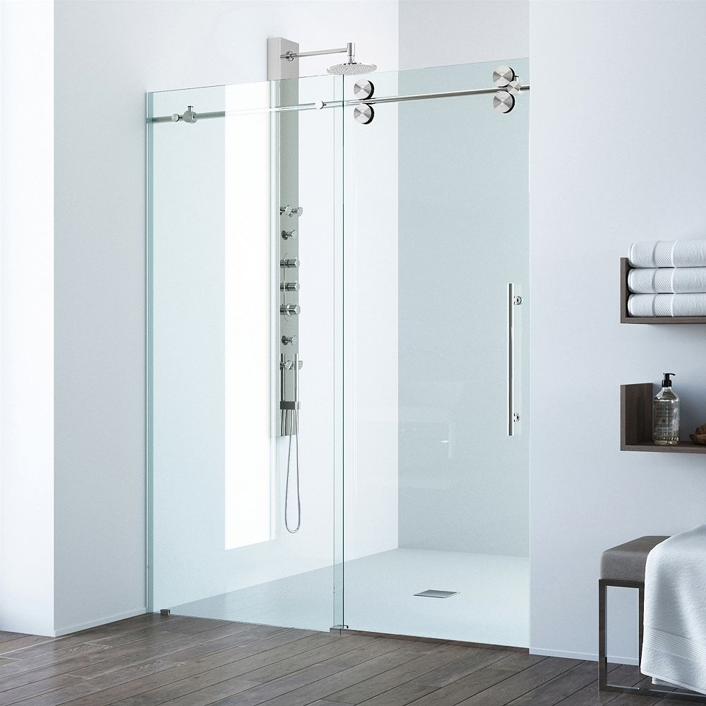 VIGO Elan 68 to 72 inch x 74 inch Frameless Sliding Shower Door in Stainless Steel with Clear Glass and Handle