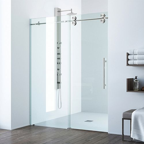 Elan 68 to 72 inch x 74 inch Frameless Sliding Shower Door in Stainless Steel with Clear Glass and Handle