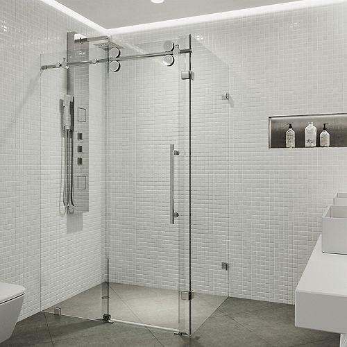 VIGO Winslow 34.625 inch x 74 inch Frameless Corner Bypass Shower Enclosure in Chrome with Clear Glass
