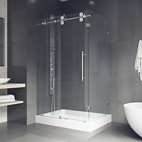 Winslow 48.125 inch x 79.875 inch Frameless Bypass Shower Enclosure in Chrome with Clear Glass and Left Base