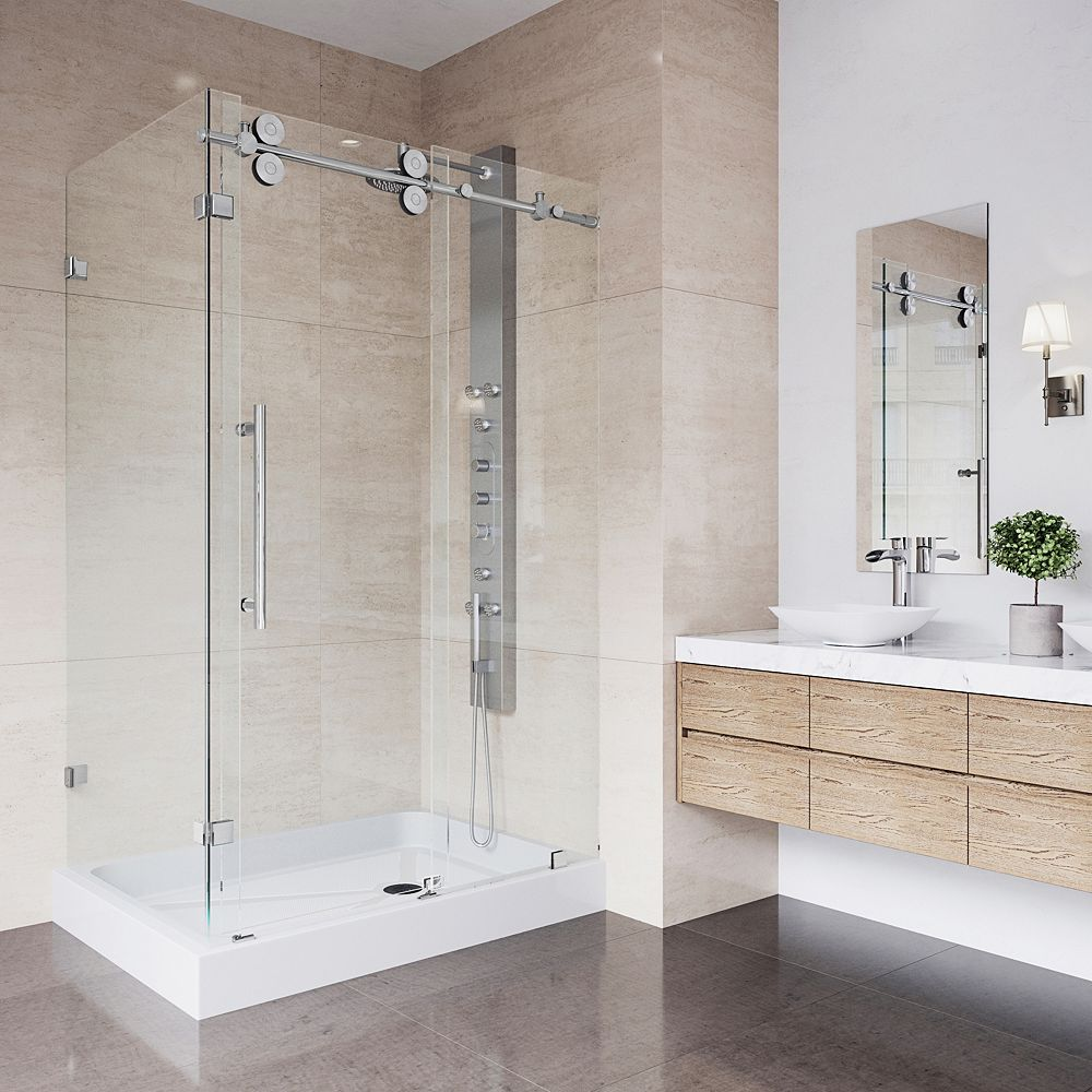 VIGO Winslow 48.125 inch x 79.875 inch Frameless Bypass Shower Enclosure in Chrome with Clear Glass and Right Base