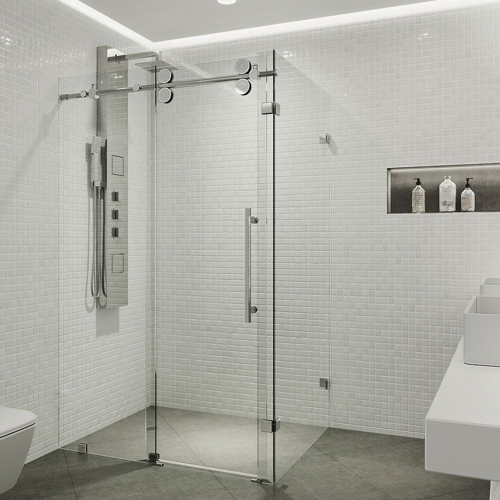 VIGO Winslow 57.75 inch x 74 inch Frameless Corner Bypass Shower Enclosure in Chrome with Clear Glass
