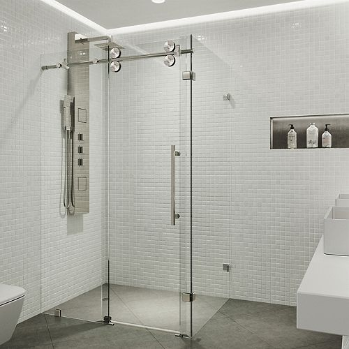 VIGO Winslow 34.625 inch x 74 inch Frameless Corner Bypass Shower Enclosure in Stainless Steel with Clear Glass