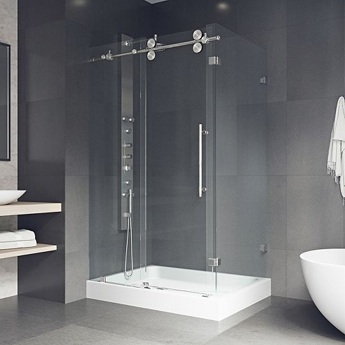 Winslow 48.125 inch x 79.875 inch Frameless Bypass Shower Enclosure in Stainless Steel and Clear Glass with Left Base