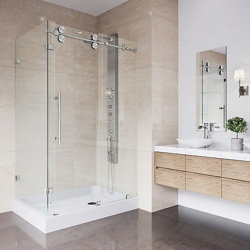 Winslow 48.125 inch x 79.875 inch Frameless Bypass Shower Enclosure in Stainless Steel with Clear Glass and Right Base