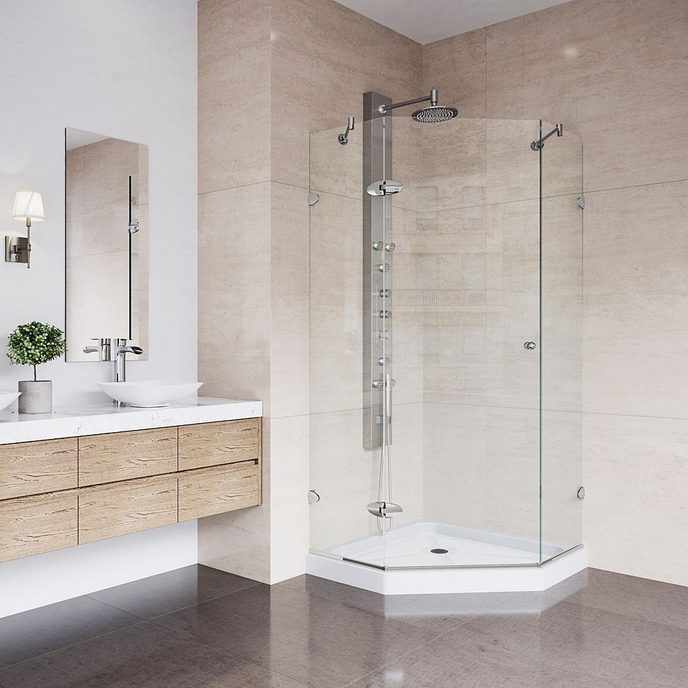 VIGO Verona 36.125 inch x 76.75 inch Frameless Neo-Angle Shower Enclosure in Brushed Nickel with Clear Glass and Low Profile Base