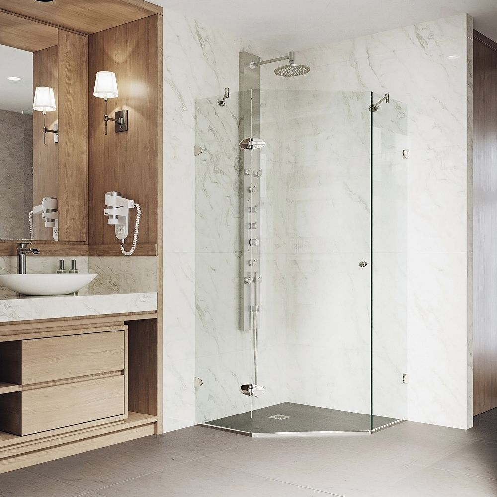VIGO Verona 36.125 inch x 73.375 inch Frameless Neo-Angle Hinged Corner Shower Enclosure in Brushed Nickel with Clear Glass