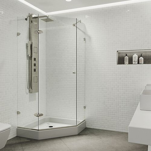 Verona 38.125 inch x 78.75 inch Frameless Neo-Angle Shower Enclosure in Brushed Nickel with Clear Glass with Base in White