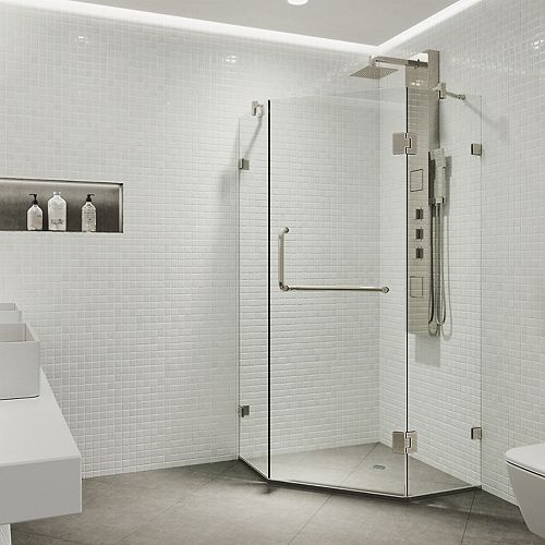 VIGO Piedmont 36.125 inch x 73.375 inch Frameless Neo-Angle Shower Enclosure in Brushed Nickel with Clear Glass