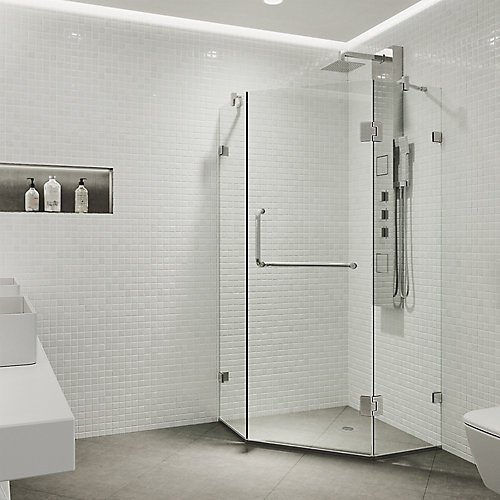 Piedmont 34.125 inch x 73.375 inch Frameless Neo-Angle Hinged Corner Shower Enclosure in Chrome with Clear Glass