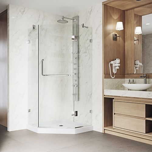 Piedmont 36.125 inch x 76.75 inch Frameless Neo-Angle Shower Door in Chrome with Clear Glass and Low Profile Base