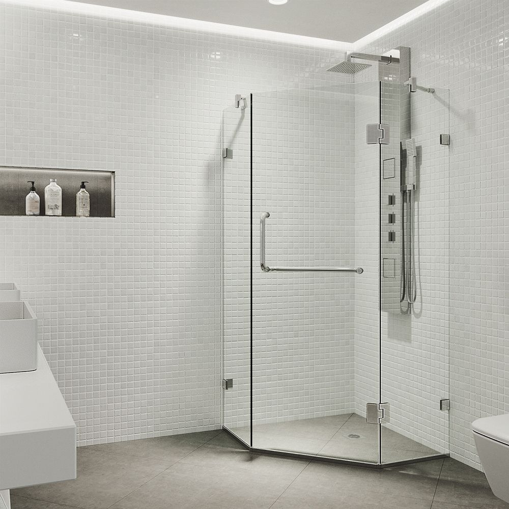 VIGO Piedmont 38.125 inch x 73.375 inch Frameless Neo-Angle Hinged Corner Shower Enclosure in Chrome with Clear Glass