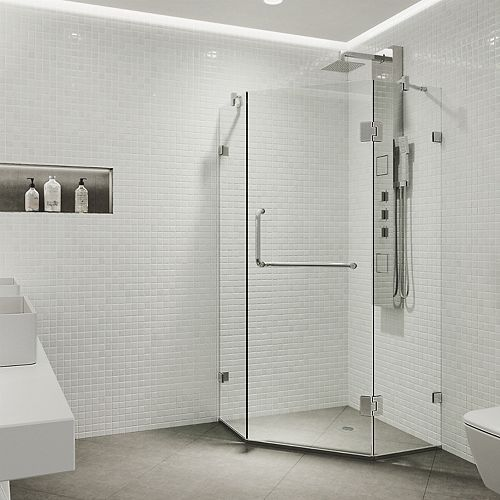 Piedmont 38.125 inch x 73.375 inch Frameless Neo-Angle Hinged Corner Shower Enclosure in Chrome with Clear Glass