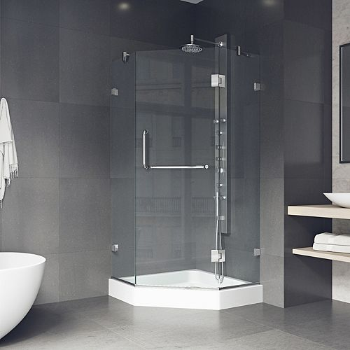 Piedmont 40.25 inch x 78.75 inch Frameless Neo-Angle Shower Enclosure in Chrome and Clear Glass with Base in White