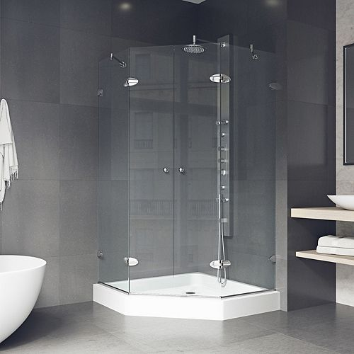 Gemini 42.125 inch x 78.75 inch Frameless Neo-Angle Shower Enclosure in Chrome with Clear Glass with Base in White