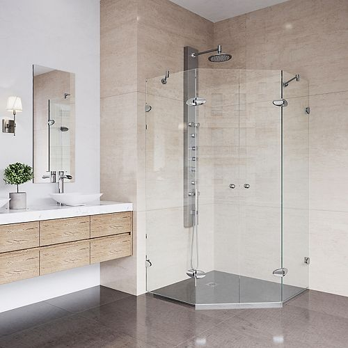 Gemini 45.625 inch x 73.375 inch Frameless Neo-Angle Hinged Corner Shower Enclosure in Chrome with Clear Glass