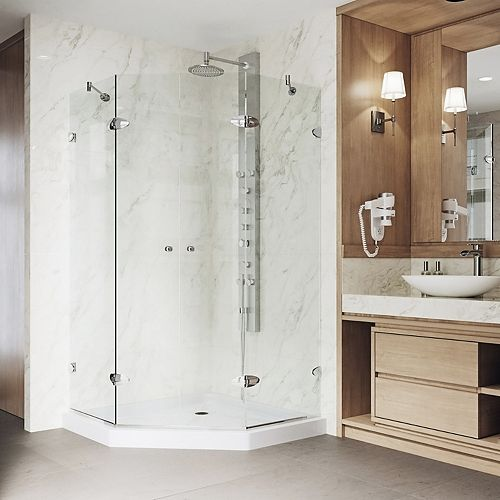 Gemini 47.625 inch x 76.75 inch Frameless Neo-Angle Shower Enclosure in Chrome with Clear Glass and Low-Profile Base
